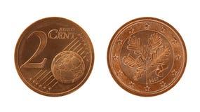 eurocents 2 монетки Стоковая Фотография