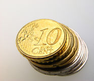 Eurocents Stockfoto