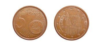 Eurocents Spanien der Münze 5 Stockfotografie