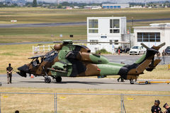 Eurocopter Airbus Tiger attack helicopter. PARIS, FRANCE - JUN 23, 2017: French Army Eurocopter-Airbus EC665 Tigre attack helicopter being towed to the static Royalty Free Stock Photo