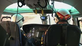 Inside of a Spanish Customs Helicopter. Eurocopter AS-365N-3 Dauphin 2 of the Spanish Customs before takeoff, on october 10, 2016 in San Javier stock video
