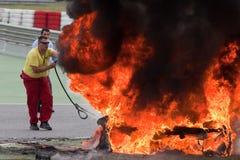 EUROCUP MEGANE TROPHY. Burning car Royalty Free Stock Images