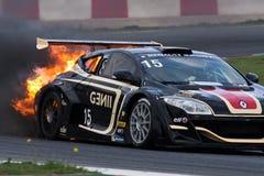EUROCUP MEGANE TROPHY. Burning car Royalty Free Stock Image