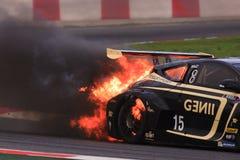 EUROCUP MEGANE TROPHY. Burning car Royalty Free Stock Photography