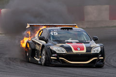 EUROCUP MEGANE TROPHY. Burning car stock photo