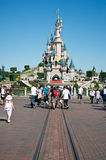Eurodisney in Paris. Castle and Tourists in Eurodisney, Paris Royalty Free Stock Photos
