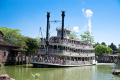 Eurodisney in Paris. Paddlesteamer in Eurodisney near Paris Royalty Free Stock Photography