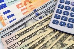 Eurodollarberäkningar Royaltyfria Bilder