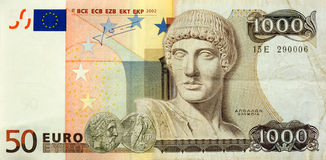 Eurodrachme. A 50 euro bill, and a 1000 drachmen bill combined Stock Images