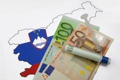 Euroeinspritzung in Slowenien - Eurokrise Stockfoto
