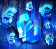 Euroeinsturz Stockbild