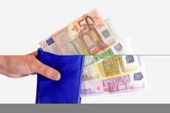 euroen bemärker plånboken Royaltyfri Fotografi
