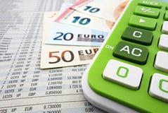 euroen bemärker reflexion Arkivbild