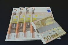 euroen bemärker reflexion Euro femtio i kombination Royaltyfri Foto