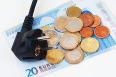 Euroen pluggar Fotografering för Bildbyråer