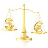 Euroen väger mycket än dollaren på scales. Royaltyfri Fotografi