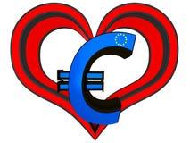 Euroet 3d undertecknar in en röd hjärta Arkivbild
