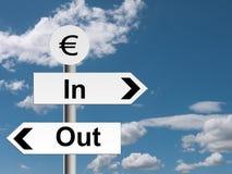 Euroet i ut undertecknar, vägvisaren - affärsekonomi eller finansiell metap Royaltyfria Bilder