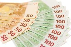 Euroet noterar номаинало i 50 och 100 Arkivbilder