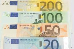 Euroet noterar pengar Arkivfoto