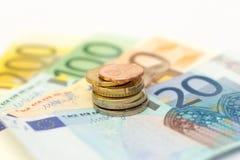 Euroet noterar pengar Royaltyfri Foto