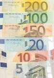 Euroet noterar pengar Fotografering för Bildbyråer