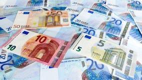 Euroet noterar pengarbakgrund Royaltyfria Foton