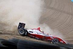 EuroF3 race. EuroF3(Round.13): in ENGLAND,Circuit BRANDS HATCH,September 04th 2009. Crash- Jules BIANCHI(FRA), Dallara F308 Mercedes,#ART Grand Prix Royalty Free Stock Images