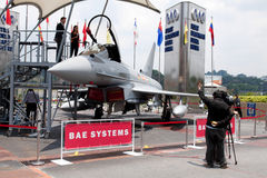 Eurofighter Typhoon. KUALA LUMPUR, MALAYSIA-APRIL 16: A full-sized replica of the Eurofighter Typhoon on display for public viewing at the Defence Services Asia royalty free stock image