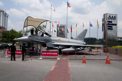 Eurofighter Typhoon. KUALA LUMPUR, MALAYSIA-APRIL 16: A full-sized replica of the Eurofighter Typhoon on display for public viewing at the Defence Services Asia stock photography