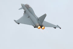 Eurofighter (Typhoon) with afterburner. Eurofighter (Typhoon) jet with afterburner royalty free stock photos