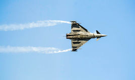 Eurofigter Typhoon. Eurofighter typhoon of italian air force on aeroshow 2012 Royalty Free Stock Photo