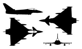 Eurofighter. Vector illustration silhouette of the multirole aircraft eurofighter isolated on white background. Editable eps file available Stock Photos