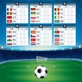 Eurofotbolltabell med flaggor för designeps för 10 bakgrund vektor för tech Fotografering för Bildbyråer