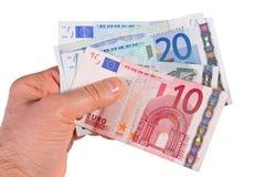 Eurogeld auf Weiß Stockbild
