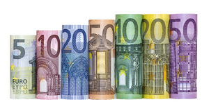 Eurogeld-Banknoten Lizenzfreies Stockbild