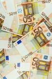 Eurogeld-Banknoten-Hintergrund - Eurovertikale 50 Lizenzfreies Stockbild