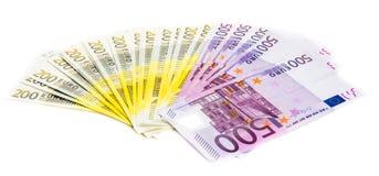 Eurogeld-Banknoten lokalisiert auf weißem Hintergrund Stockfotos