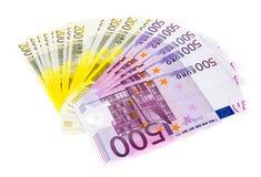 Eurogeld-Banknoten lokalisiert auf weißem Hintergrund Stockfoto
