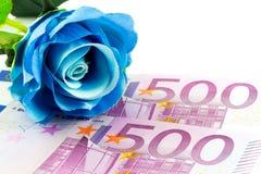 Geld und Blaurose Stockfotografie