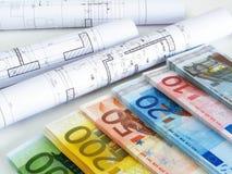 EUROgeld und Pläne Lizenzfreie Stockfotografie