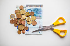 EurogeldEtatverkürzungen Stockfotos