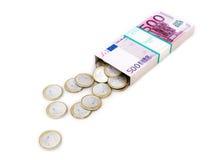 Eurogeldkasten auf weißem getrenntem Hintergrund Stockbild