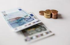 Eurogeldmünzen schließen oben Lizenzfreie Stockfotografie