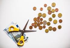 Eurogeldmünzen schließen oben Stockfotos