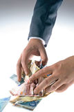 Eurograbber 03. Two hands grab some euro cash notes Stock Image