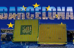 EuroHPC initative z panoramicznym widokiem Barcelona i komputerowi procesory na przedpolu Obrazy Stock
