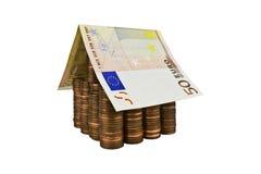 Eurohus som isoleras Arkivbild