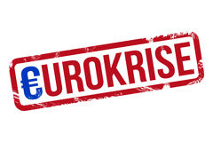 Eurokrise. Coloured grunge stamp with the German word Eurokrise (Euro Crisis vector illustration