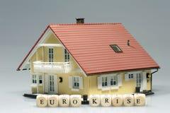 Eurokrise Modell House Stockbild